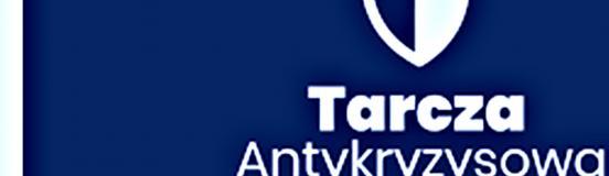 """niebielskie logo z białym napisem """"Tarcza Antykryzysowa"""""""